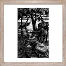 Cows by the River - Ready Framed
